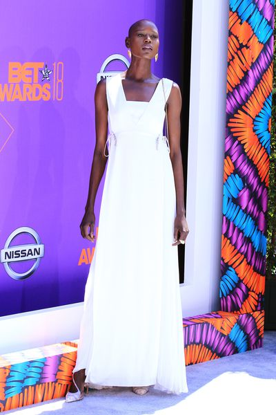 Model Ajak Deng at the 2018 BET Awards