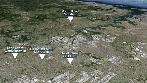 The homes targeted in the operation. (9NEWS)