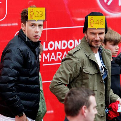 <p>Brooklyn Beckham, 16, and David Beckham, 40</p>