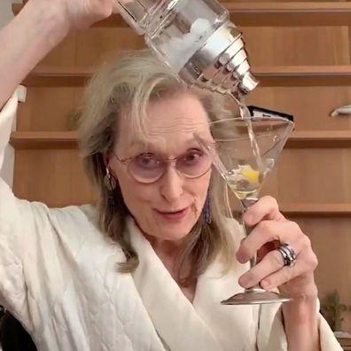Meryl Streep sings in her bathrobe with a martini