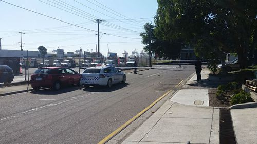 Police earlier at the scene on Whitehall Street in Yarraville. (Supplied)