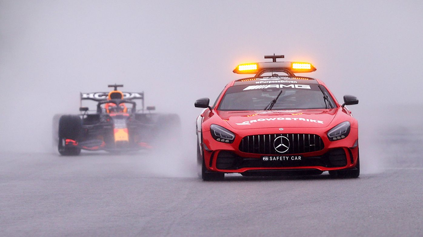 The safety car leads Max Verstappen at the Belgian Grand Prix.