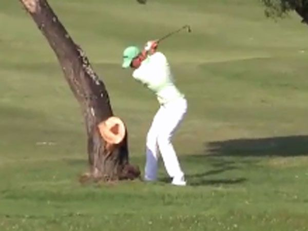 Professional golfer felled by low blow