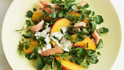 "Click ythrough for our gorgeous <a href=""http://kitchen.nine.com.au/2016/05/17/09/48/smoked-trout-and-peach-salad"" target=""_top"">smoked trout and peach salad</a> recipe"