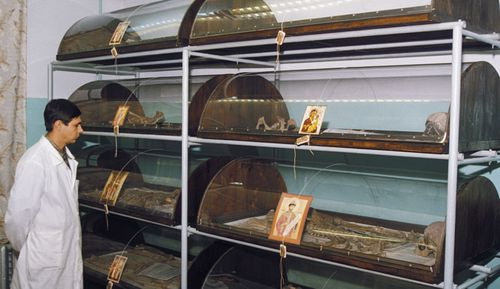 The remains of the romanov family in storage at the bureau for forensic examination, yekaterinburg, russia, 1997.