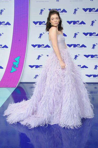 Lorde in Monique Lhuillier at the 2017 MTV VMAs in LA, August 27.