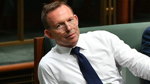 Former Prime Minister Tony Abbott in Parliament today.