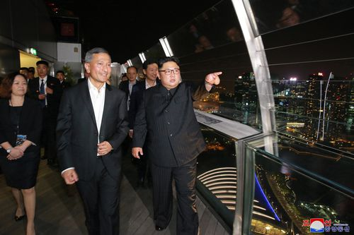 Kim Jong-un pictured out and about in Singapore.