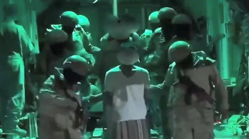 Image supplied by Saudi Foreign Ministry purportedly shows Islamic State extremists captured by special forces during 10-minute Yemen raid.