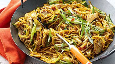 "The greatest noodle dishes come down to awesome combinations. What ingredients can you use with noodles? Almost everything! <br> Mix up meat with seafood, vegetables and eggs. Take a look in your fridge and see if you can match the ingredients with one of these awesome noodle combination recipes tonight, starting with our favourite overflowing wok of <a href=""http://kitchen.nine.com.au/2016/05/20/11/35/singapore-noodles"" target=""_top"">Singapore noodles</a>."