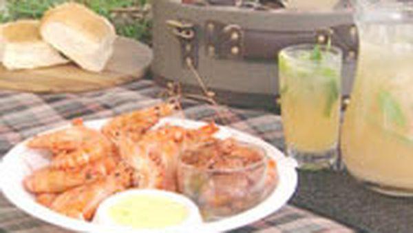 BBQ prawns and chorizo with saffron galric aioli