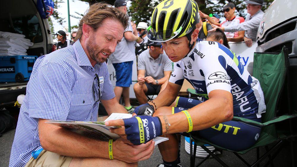 Orica-Scott team director Matt White and rider Esteban Chaves. (Getty Images)