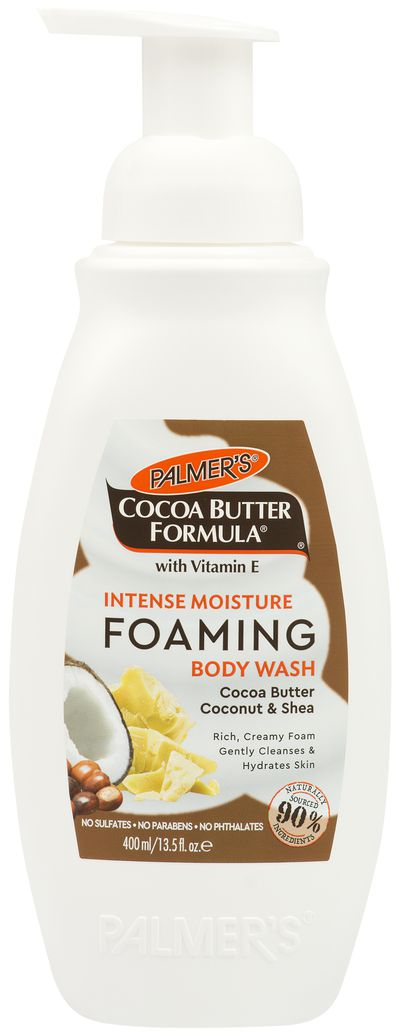 """<p><a href=""""https://www.palmersaustralia.com"""" target=""""_blank"""" title=""""Palmer's Cocoa Butter Formula with Vitamin E Intense Moisturise Foaming Body Wash Cocoa Butter coconut & Shea, $7.99"""" draggable=""""false"""">Palmer's Cocoa Butter Formula with Vitamin E Intense Moisturise Foaming Body Wash Cocoa Butter coconut & Shea, $7.99</a></p> <p>Keep your skin hydrated and cleansed with this new foaming body wash from bathtime favourite, Palmer's.</p>"""
