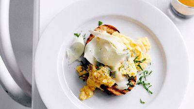 """Recipe:&nbsp;<a href=""""http://kitchen.nine.com.au/2016/05/16/13/00/eggs-on-toast-with-asiago"""" target=""""_top"""">Eggs on toast with Asiago</a>"""
