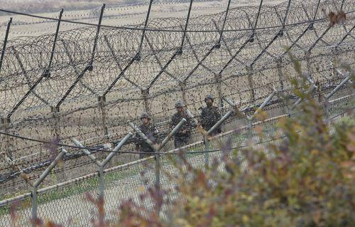 South Korean soldiers patrol near the border.