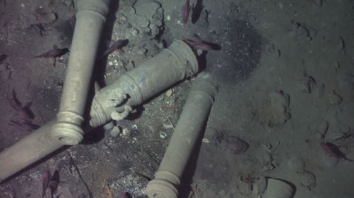 To confirm the wreck's identity, REMUS descended to just 30 feet above the wreck where it was able to capture photos of a key distinguishing feature of the San José—its cannons. (REMUS image, Woods Hole Oceanographic Institution)