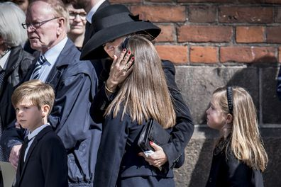 Princess Mary attended the funeral with her three children.