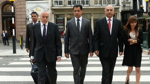 John Moore, QC, Jacintha Saldanha's husband Benedict Barboza, Labour MP Keith Vaz and Lisha Saldanha, daughter of deceased, arrive to the Royal Courts of Justice for the inquest into the death of Saldanha in London. (AAP)