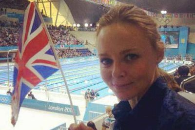 Fashion designer (and daughter of Beatle, Sir Paul) Stella McCartney cheers Great Britain on at the swimming.