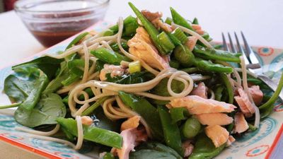 "Recipe: <a href=""http://kitchen.nine.com.au/2018/01/30/11/17/salmon-and-soba-noodle-salad"" target=""_top"" draggable=""false""><strong>Salmon and soba noodle salad</strong></a>"