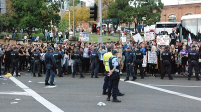 Hundreds of protesters were forced off the while police made several arrests  (Nicholas McCallum)