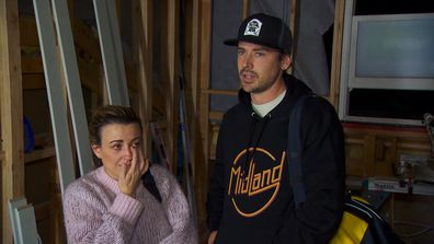 Kirsty is in tears after seeing the progress of their home