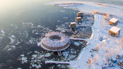 Aerial image of Arctic Bath hotel in Swedish Lapland.
