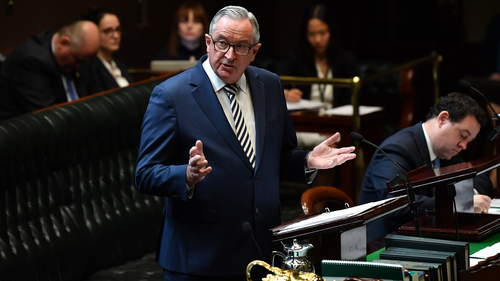 NSW Minister for Health and Medical Research Brad Hazzard speaks during a debate of the Reproductive Health Care Reform Bill