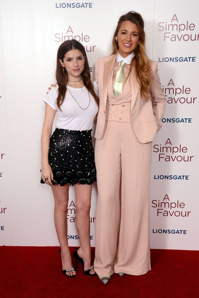 Blake Lively and Anna Kendrick attend the UK premiere of 'A Simple Favour', September 17.