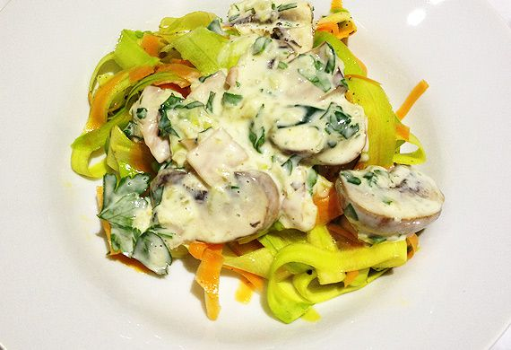 New Atkins zucchini and carrot pasta with creamy boscaiola sauce