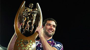 Cameron Smith with NRL premiership trophy (Getty)