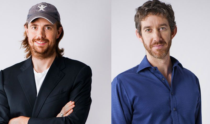 Sydney-based Atlassian founders Mike Cannon-Brookes (left) and Scott Farquhar, (AAP)