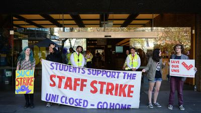 Thousands of university students from University of Sydney and University of Technology march through the CBD against the Abbott Governments budget cuts.