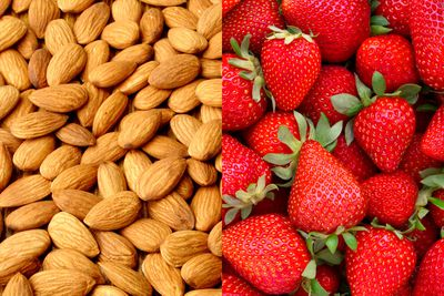 Almonds with strawberries