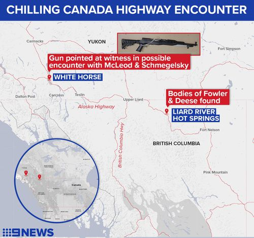 Map detailing where a witness woke up to see a strange vehicle reversing towards him, and another man stalking in his direction carrying a rifle.
