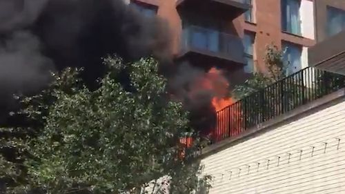 The fire took hold of at least four balconies. Picture: Twitter