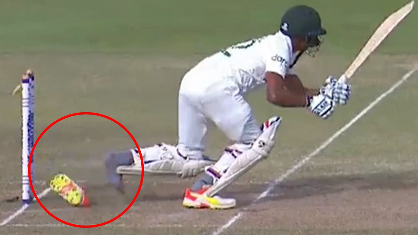 Bangladesh tail-ender Taijul Islam dismissed hit wicket as shoe slips off, bobbles onto stumps