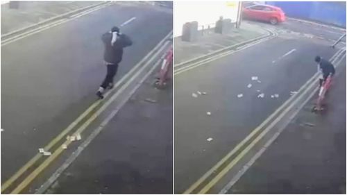 CCTV captured the moment the cash began trailing behind the robber. (Greater Manchester Police)
