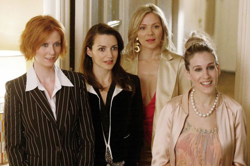 Nixon and her fellow Sex and the City castmates Kristin Davis, Kim Cattrall and Sarah Jessica Parker. (Supplied)
