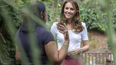 Kate Middleton, Duchess of Cambridge hears from families and key organisations about the ways in which peer support can help boost parent well-being while spending the day learning about the importance of parent-powered initiatives, in Battersea Park on September 22, 2020 in London, England.