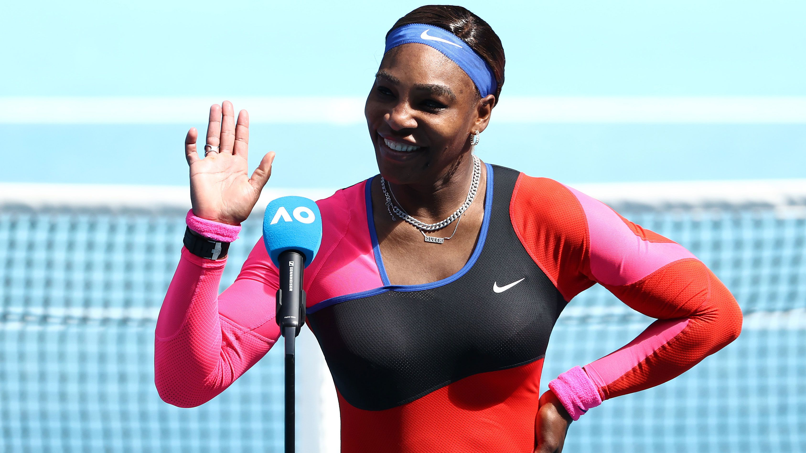 Serena Williams in her on-court interview after winning her Australian Open fourth round match.