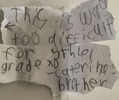 Mum finds note in daughter's homework book