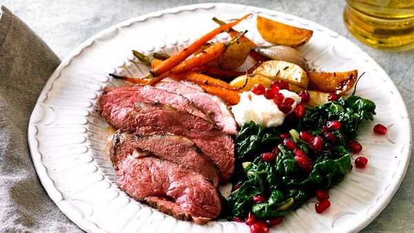 Pomegranate glazed lamb rump recipe for BeefandLamb.com.au