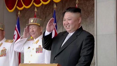 Kim Jong-Un saluted the crowd. (AFP)