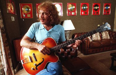 Statuo Quo founding member Alan Lancaster pictured at his Castle Hill home in Sydney in 1997