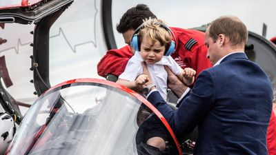 Prince George also got to sit in the RAF Red Arrows' Red Arrow Hawk.
