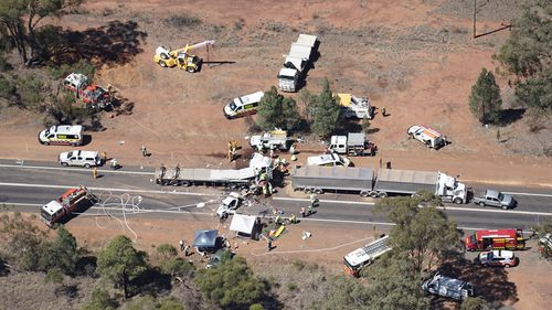 A day later, another truck was involved in a crash when it collidded into six stationary vehicles on the Newell Highway, north of Dubbo (9NEWS).
