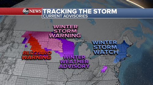 Twenty states from Montana to Maine are under winter storm alerts and 50 million Americans in the path of heavy snow and strong winds (ABC America).