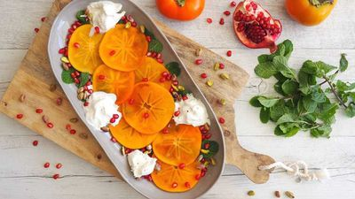 "Recipe: <a href=""http://kitchen.nine.com.au/2017/05/03/14/12/persimmon-burrata-and-pistachio-salad"" target=""_top"">Persimmon, burrata and pistachio salad</a>"