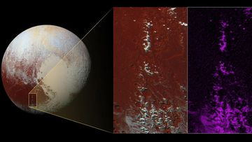 <p>NASA have released data from the New Horizons spacecraft which shows snow-capped mountains in Cthulhu, the prominent dark brown feature on Pluto's surface.<br /><br />The snow is likely to be frozen methane, New Horizons scientists believe. They suspect that methane on Pluto may act like water does in Earth's atmosphere, &nbsp;condensing at high altitudes. (NASA)<br /><strong><br />Click through for more images from the New Horizons spacecraft.&nbsp;</strong></p>